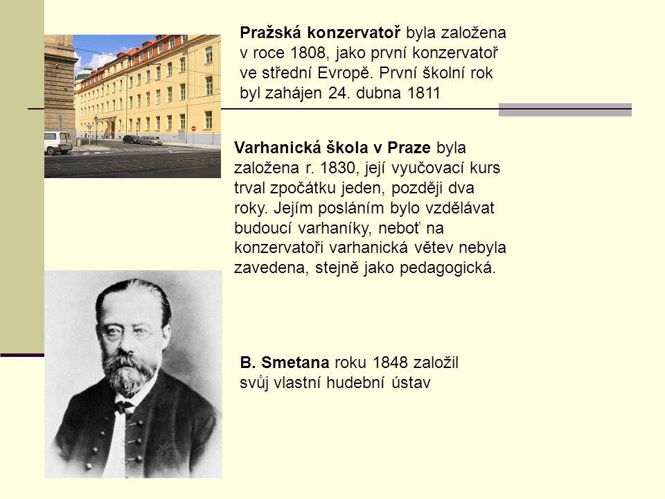Pražská konzervatoř byla založena v roce 1808, jako první konzervatoř ve střední Evropě. První školní rok byl zahájen 24. dubna 1811 Varhanická škola