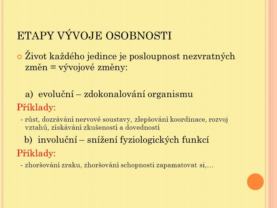 ETAPY VÝVOJE OSOBNOSTI Život každého jedince je posloupnost nezvratných změn = vývojové změny: a) evoluční – zdokonalování organismu Příklady: - růst, dozrávání nervové soustavy, zlepšování koordinace, rozvoj vztahů, získávání zkušeností a dovedností b) involuční – snížení fyziologických funkcí Příklady: - zhoršování zraku, zhoršování schopnosti zapamatovat si,…