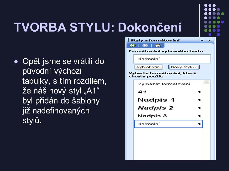 """TVORBA STYLU: Dokončení Opět jsme se vrátili do původní výchozí tabulky, s tím rozdílem, že náš nový styl """"A1 byl přidán do šablony již nadefinovaných stylů."""
