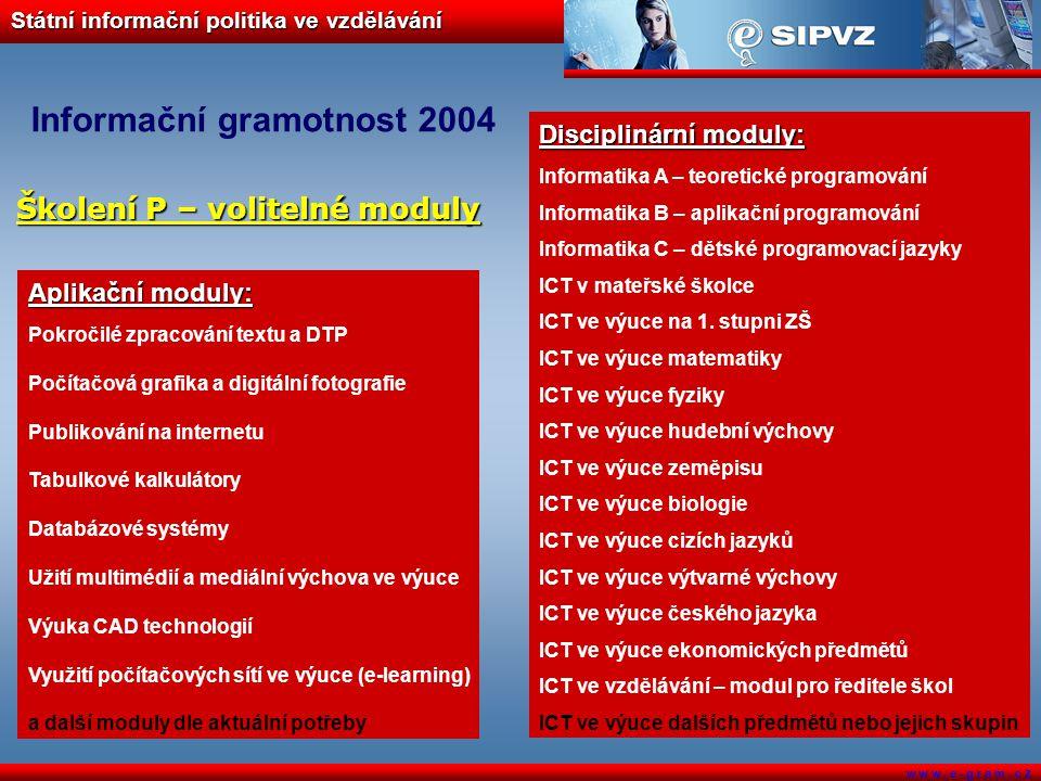 Státní informační politika ve vzdělávání w w w. e - g r a m. c z Informační gramotnost 2004 Aplikační moduly: Pokročilé zpracování textu a DTP Počítač