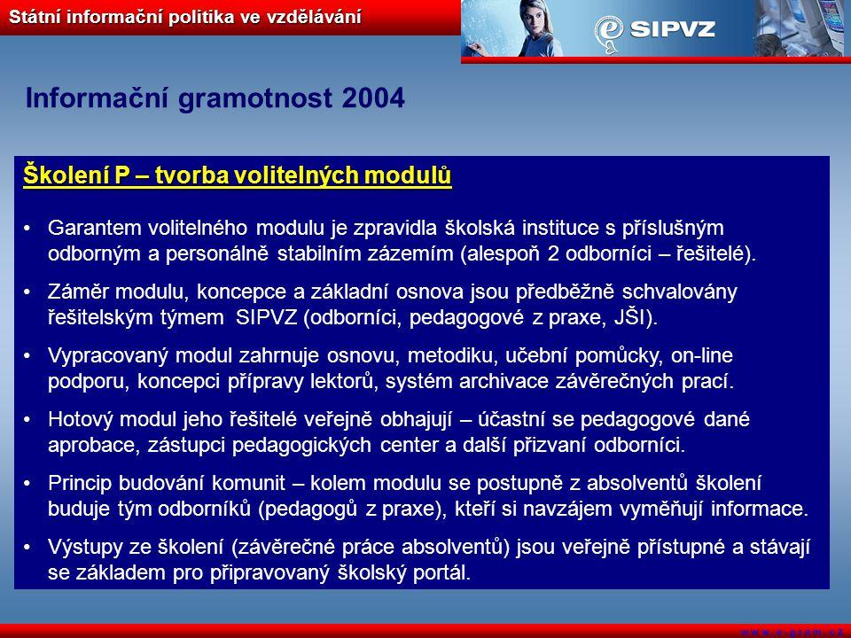 Státní informační politika ve vzdělávání w w w. e - g r a m. c z Informační gramotnost 2004 Školení P – tvorba volitelných modulů Garantem volitelného