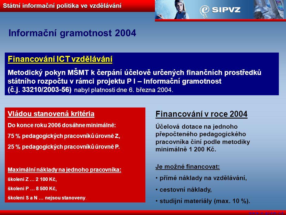 Státní informační politika ve vzdělávání w w w. e - g r a m. c z Informační gramotnost 2004 Financování ICT vzdělávání Metodický pokyn MŠMT k čerpání