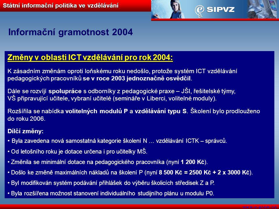 Státní informační politika ve vzdělávání w w w. e - g r a m. c z Informační gramotnost 2004 Změny v oblasti ICT vzdělávání pro rok 2004: K zásadním zm