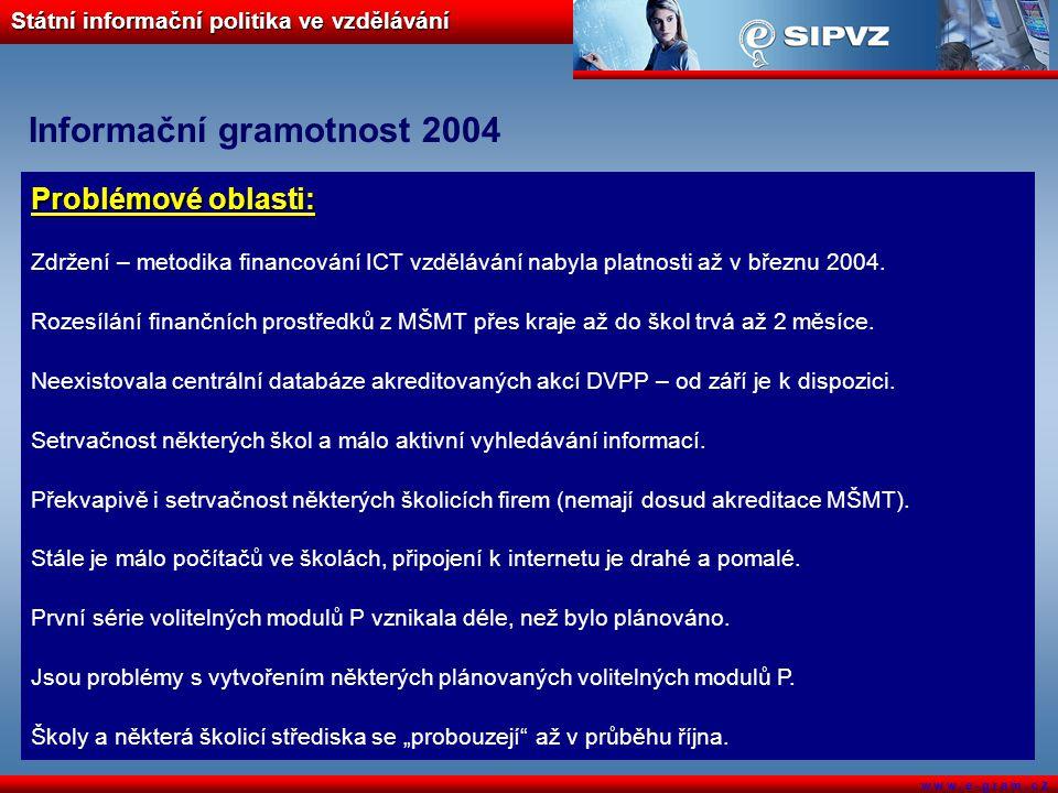 Státní informační politika ve vzdělávání w w w. e - g r a m. c z Informační gramotnost 2004 Problémové oblasti: Zdržení – metodika financování ICT vzd