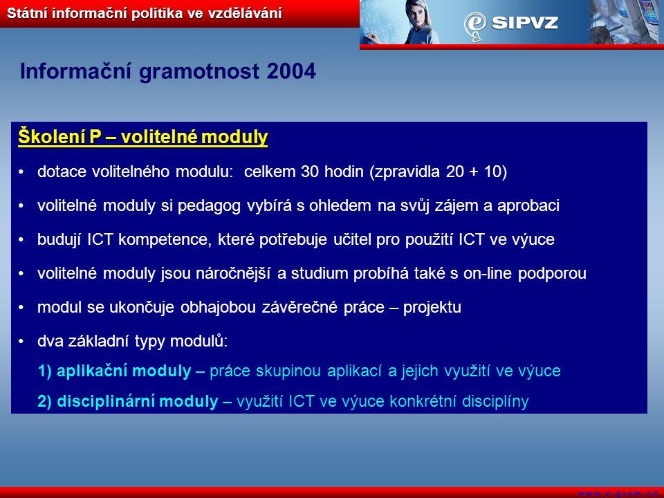Státní informační politika ve vzdělávání w w w. e - g r a m. c z Informační gramotnost 2004 Školení P – volitelné moduly dotace volitelného modulu: ce
