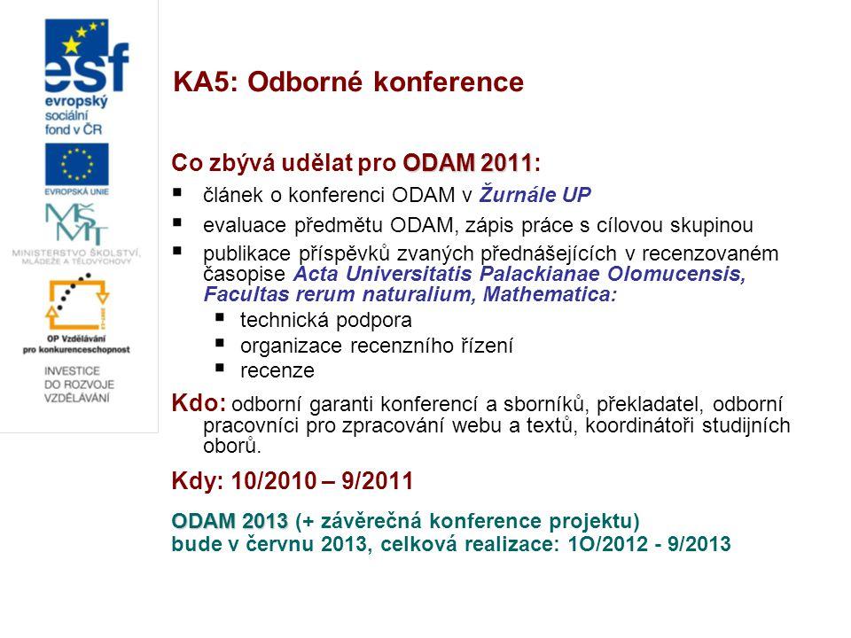 KA5: Odborné konference ODAM 2011 Co zbývá udělat pro ODAM 2011:  článek o konferenci ODAM v Žurnále UP  evaluace předmětu ODAM, zápis práce s cílovou skupinou  publikace příspěvků zvaných přednášejících v recenzovaném časopise Acta Universitatis Palackianae Olomucensis, Facultas rerum naturalium, Mathematica:  technická podpora  organizace recenzního řízení  recenze Kdo: odborní garanti konferencí a sborníků, překladatel, odborní pracovníci pro zpracování webu a textů, koordinátoři studijních oborů.