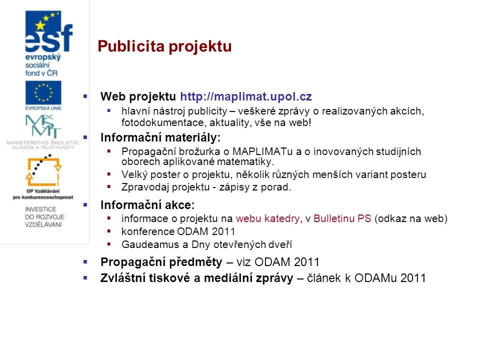 Publicita projektu  Web projektu http://maplimat.upol.cz  hlavní nástroj publicity – veškeré zprávy o realizovaných akcích, fotodokumentace, aktuality, vše na web.
