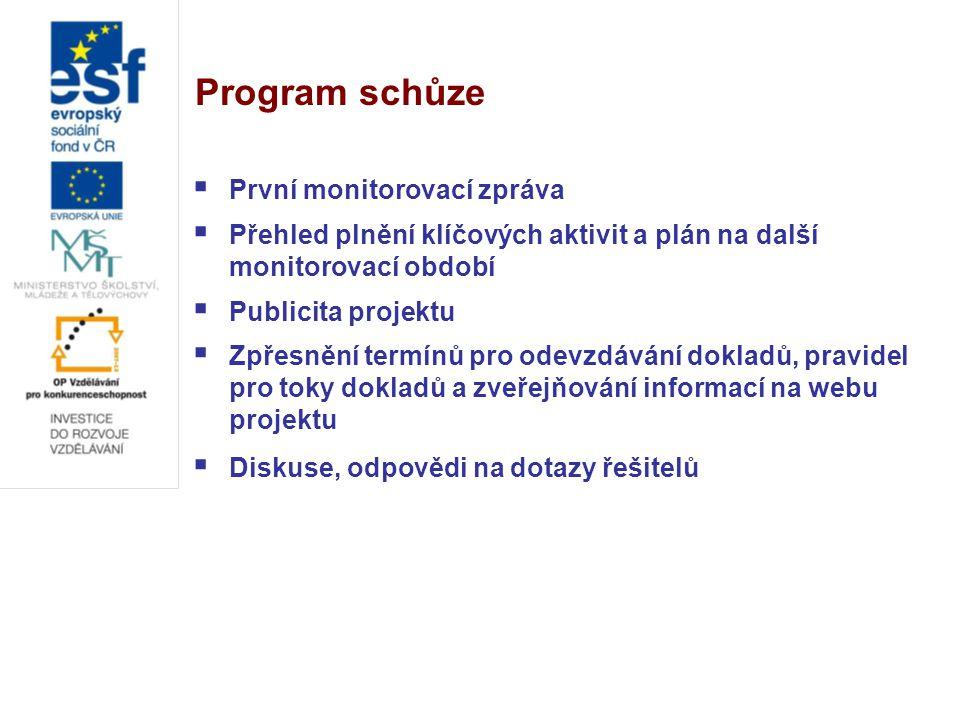 První monitorovací zpráva  První monitorovací zpráva byla v termínu zpracována a odeslána ( Janečková, Talašová + koordinátorky praxí a OZS )  Podle dostupných informací by měla být příští týden schválena  Odborná část monitorovací zprávy zahrnovala:  Přehled plnění klíčových aktivit a publicity v prvním monitorovacím období (1.