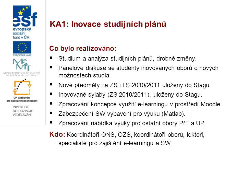 KA1: Inovace studijních plánů Co bylo realizováno:  Studium a analýza studijních plánů, drobné změny.