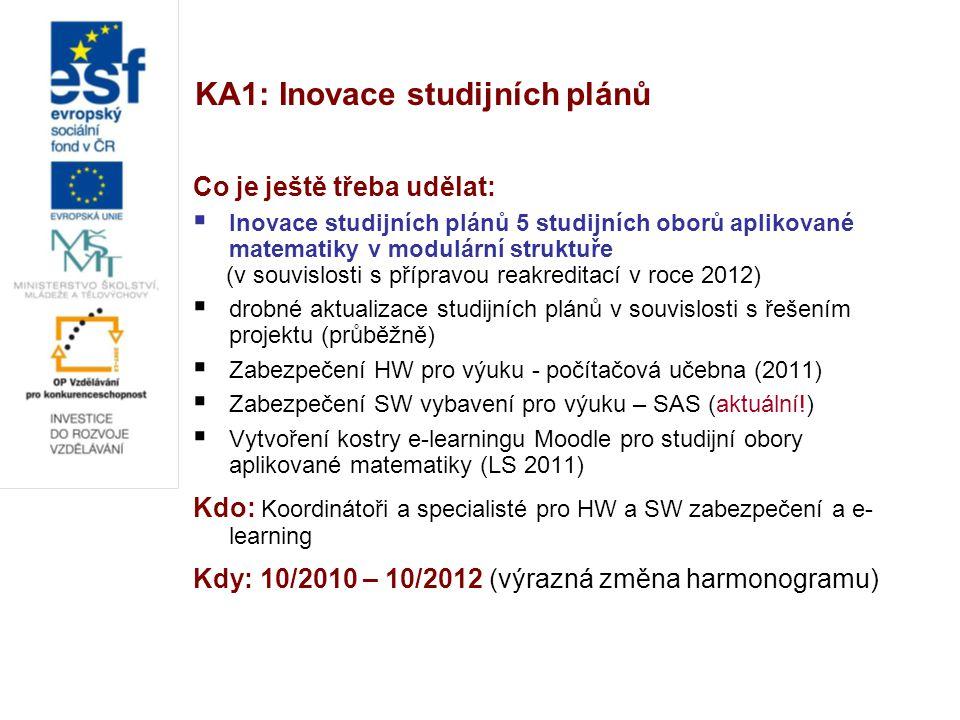 KA1: Inovace studijních plánů Co je ještě třeba udělat:  Inovace studijních plánů 5 studijních oborů aplikované matematiky v modulární struktuře (v souvislosti s přípravou reakreditací v roce 2012)  drobné aktualizace studijních plánů v souvislosti s řešením projektu (průběžně)  Zabezpečení HW pro výuku - počítačová učebna (2011)  Zabezpečení SW vybavení pro výuku – SAS (aktuální!)  Vytvoření kostry e-learningu Moodle pro studijní obory aplikované matematiky (LS 2011) Kdo: Koordinátoři a specialisté pro HW a SW zabezpečení a e- learning Kdy: 10/2010 – 10/2012 (výrazná změna harmonogramu)