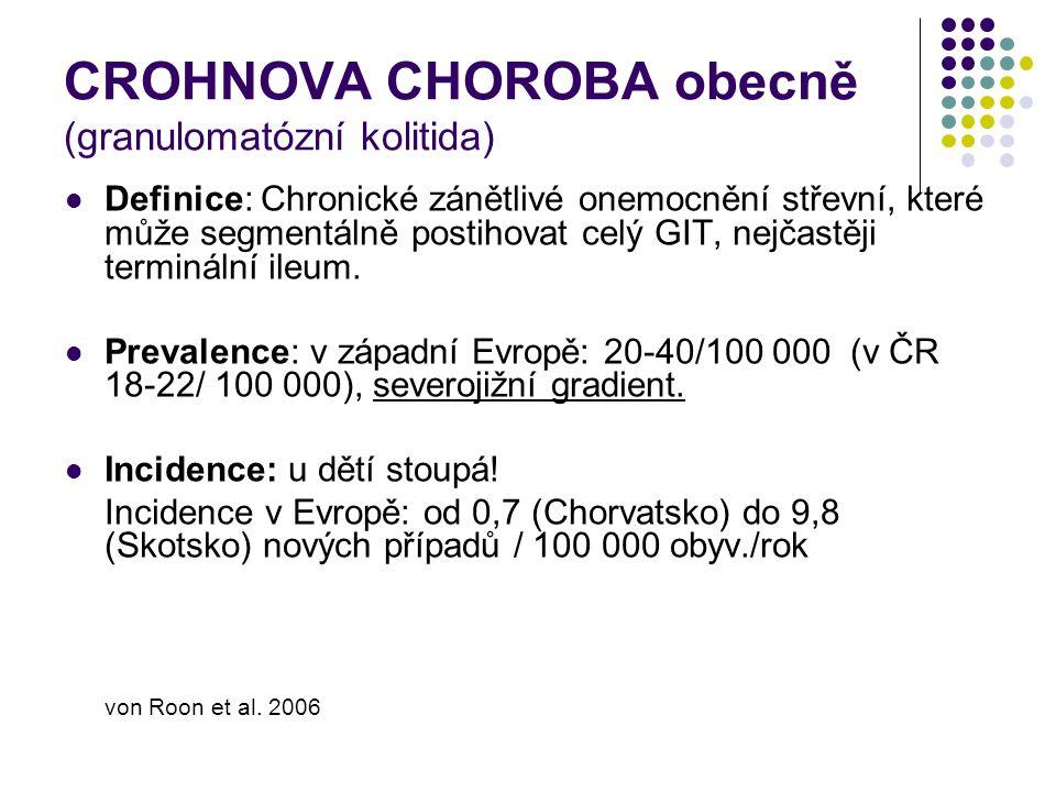 CROHNOVA CHOROBA obecně (granulomatózní kolitida) Definice: Chronické zánětlivé onemocnění střevní, které může segmentálně postihovat celý GIT, nejčas