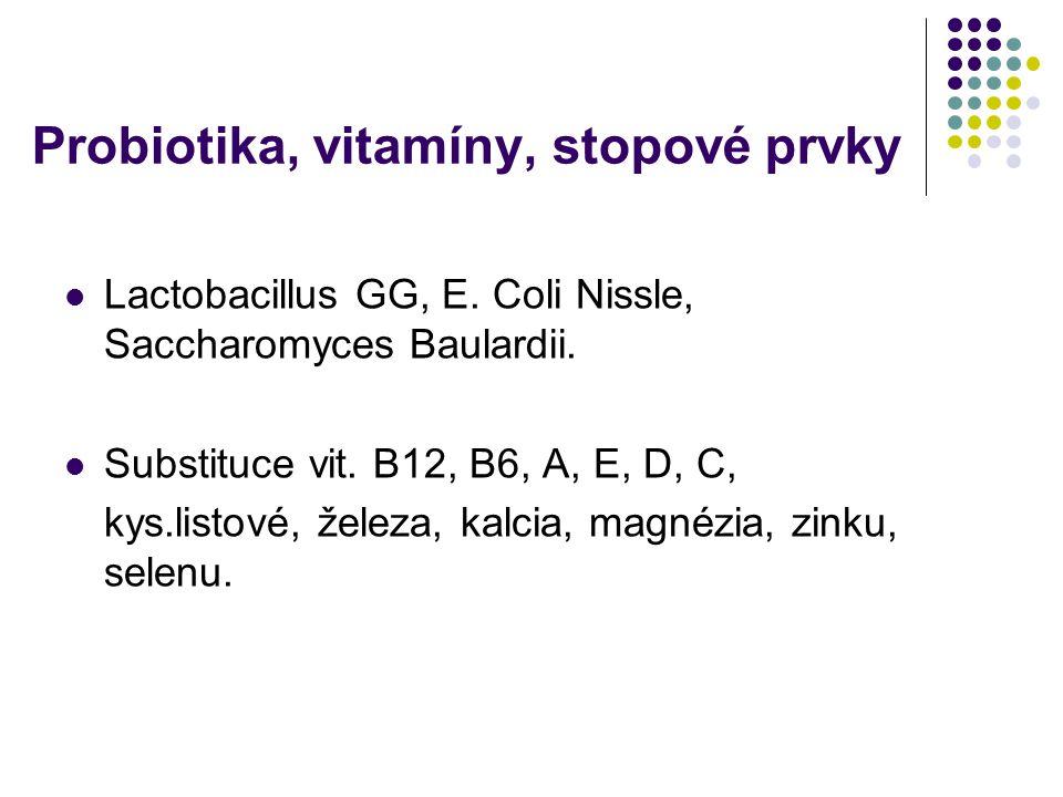 Probiotika, vitamíny, stopové prvky Lactobacillus GG, E. Coli Nissle, Saccharomyces Baulardii. Substituce vit. B12, B6, A, E, D, C, kys.listové, želez