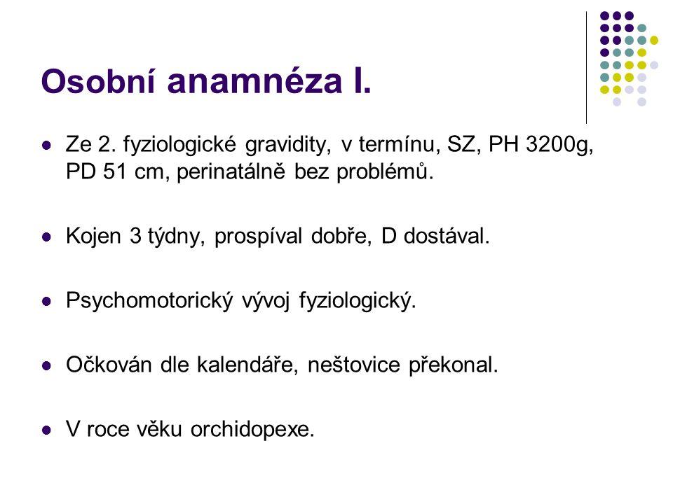 Osobní anamnéza I. Ze 2. fyziologické gravidity, v termínu, SZ, PH 3200g, PD 51 cm, perinatálně bez problémů. Kojen 3 týdny, prospíval dobře, D dostáv