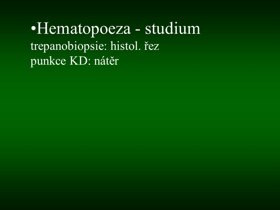 Hematopoeza - studium trepanobiopsie: histol. řez punkce KD: nátěr