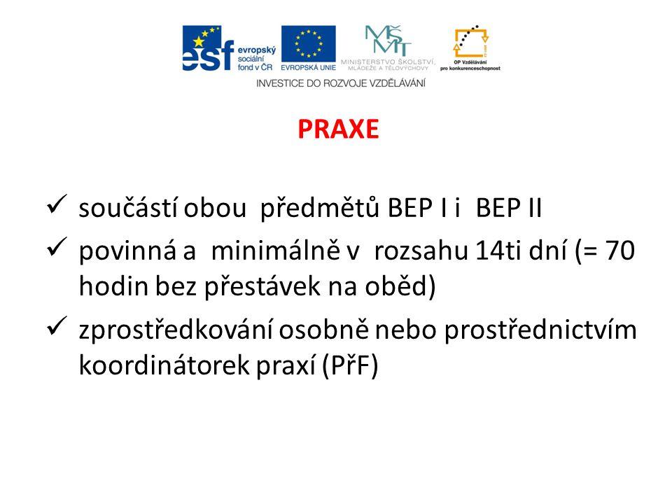 součástí obou předmětů BEP I i BEP II povinná a minimálně v rozsahu 14ti dní (= 70 hodin bez přestávek na oběd) zprostředkování osobně nebo prostřednictvím koordinátorek praxí (PřF) PRAXE