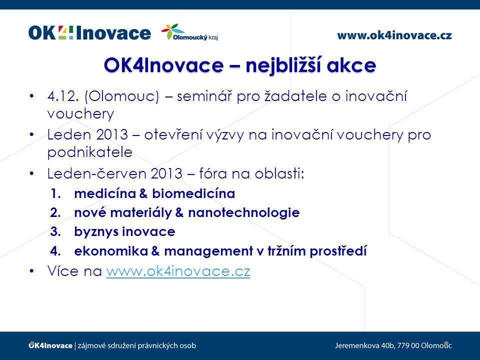 OK4Inovace – nejbližší akce 4.12.