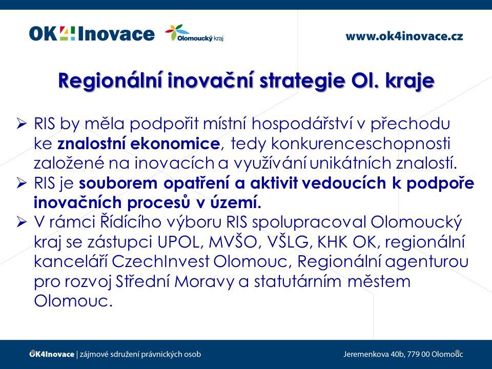 Obsah  Analýza současné situace Olomouckého kraje v oblasti inovací (průzkum ve 116 firmách a mezi 31 výzkumnými týmy v kraji)  Definice strategických cílů, opatření a nástrojů (v rámci pracovních skupin složených ze zástupců regionálních firem, akademiků a členů Řídícího výboru)  Akční plán RIS včetně pilotních projektů  Olomoucký kraj schválil na podzim 2011 Regionální inovační strategii včetně Akčního plánu a vytvoření implementační struktury = sdružení OK4Inovace.