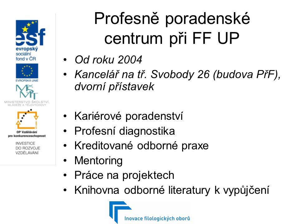 Profesně poradenské centrum při FF UP Od roku 2004 Kancelář na tř.