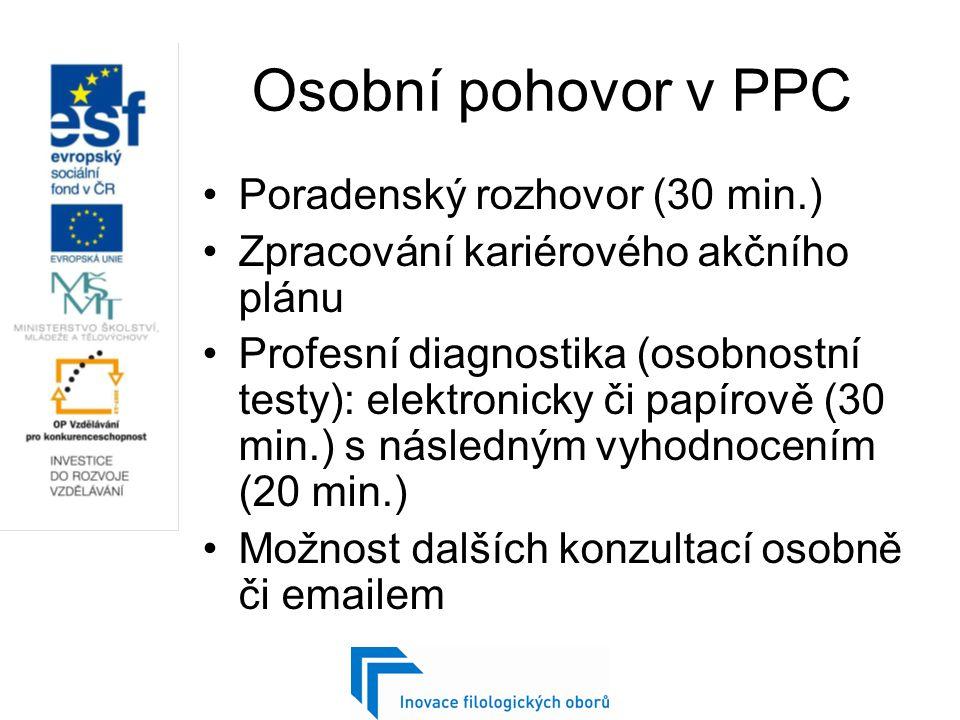 Osobní pohovor v PPC Poradenský rozhovor (30 min.) Zpracování kariérového akčního plánu Profesní diagnostika (osobnostní testy): elektronicky či papírově (30 min.) s následným vyhodnocením (20 min.) Možnost dalších konzultací osobně či emailem
