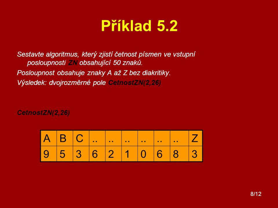 8/12 Příklad 5.2 Sestavte algoritmus, který zjistí četnost písmen ve vstupní posloupnosti ZN obsahující 50 znaků. Posloupnost obsahuje znaky A až Z be