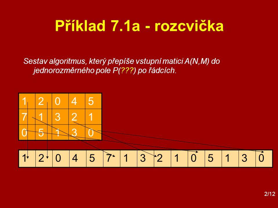 2/12 Příklad 7.1a - rozcvička 12045 71321 05130 Sestav algoritmus, který přepíše vstupní matici A(N,M) do jednorozměrného pole P( ) po řádcích.