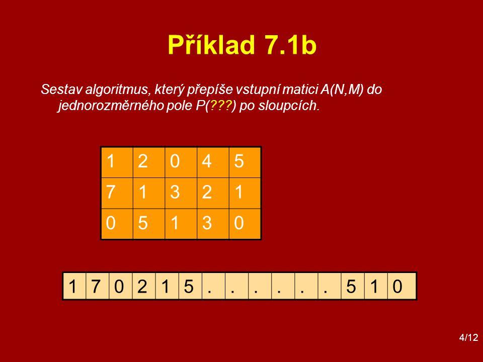 4/12 Příklad 7.1b 12045 71321 05130 Sestav algoritmus, který přepíše vstupní matici A(N,M) do jednorozměrného pole P( ) po sloupcích.