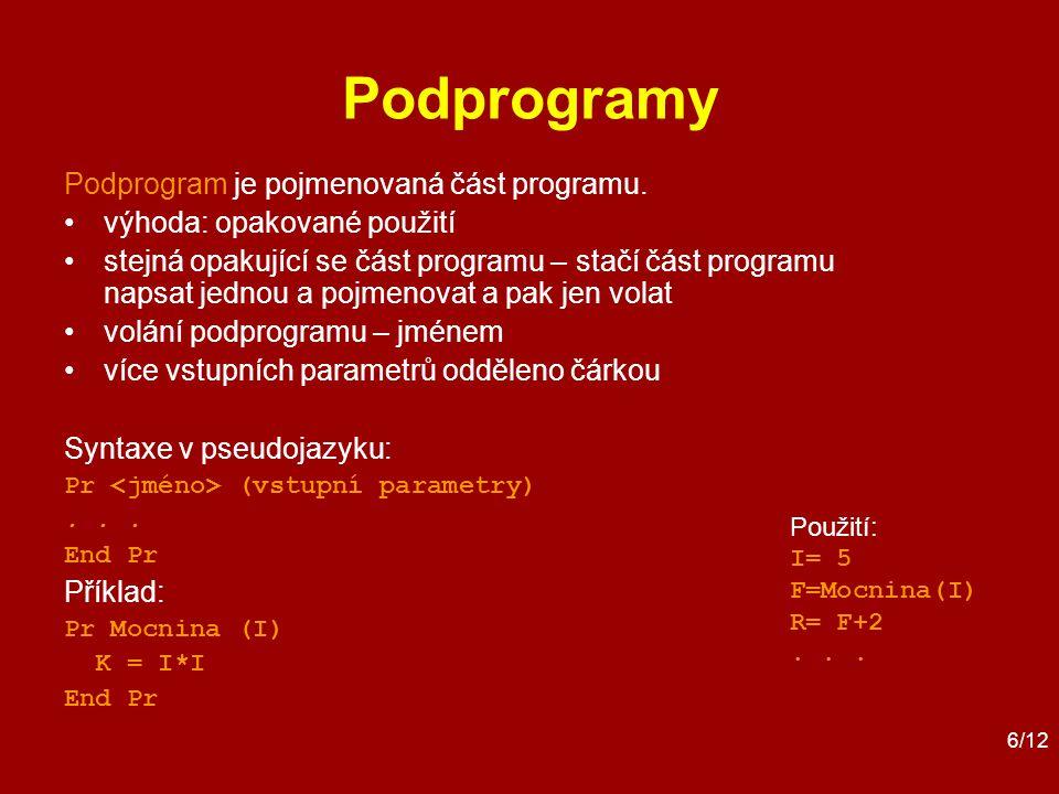 6/12 Podprogramy Podprogram je pojmenovaná část programu.