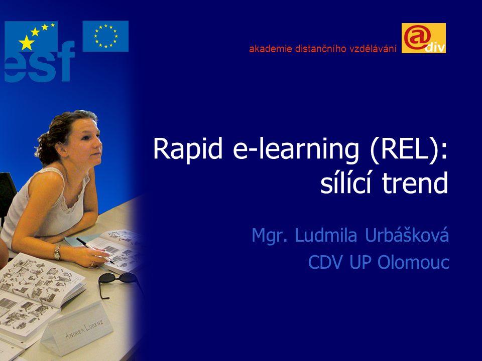 Rapid e-learning (REL): sílící trend Mgr. Ludmila Urbášková CDV UP Olomouc akademie distančního vzdělávání