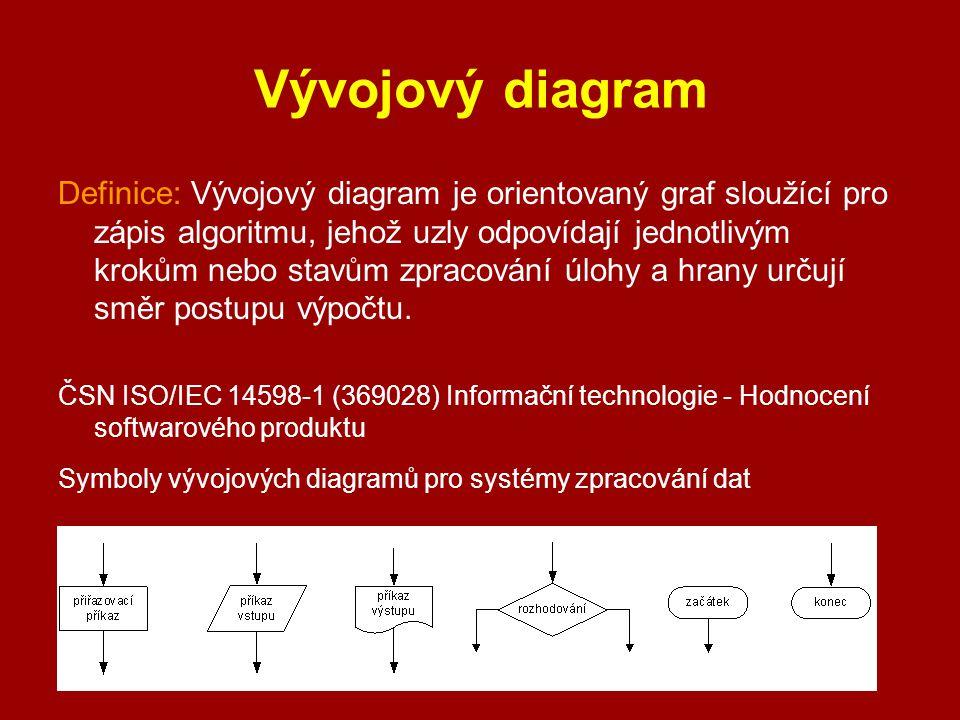 Vývojový diagram Definice: Vývojový diagram je orientovaný graf sloužící pro zápis algoritmu, jehož uzly odpovídají jednotlivým krokům nebo stavům zpr