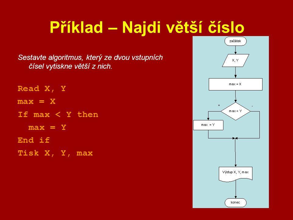 Příklad – Najdi větší číslo Sestavte algoritmus, který ze dvou vstupních čísel vytiskne větší z nich. Read X, Y max = X If max < Y then max = Y End if