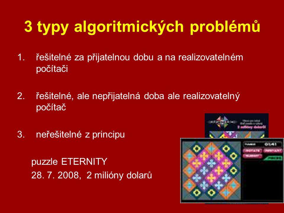 3 typy algoritmických problémů 1.řešitelné za přijatelnou dobu a na realizovatelném počítači 2. řešitelné, ale nepřijatelná doba ale realizovatelný po