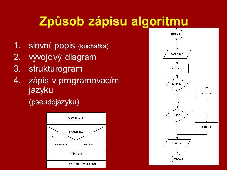 Způsob zápisu algoritmu 1.slovní popis (kuchařka) 2.vývojový diagram 3.strukturogram 4.zápis v programovacím jazyku (pseudojazyku)