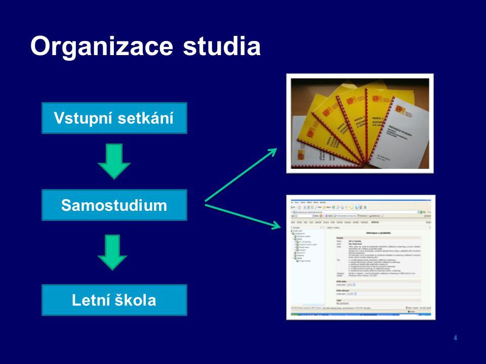 Organizace studia 4 Vstupní setkání Samostudium Letní škola