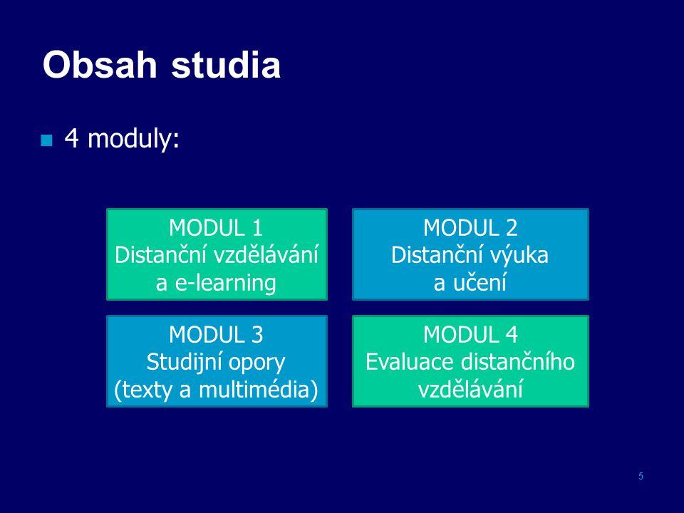 Obsah studia 4 moduly: 5 MODUL 4 Evaluace distančního vzdělávání MODUL 2 Distanční výuka a učení MODUL 3 Studijní opory (texty a multimédia) MODUL 1 Distanční vzdělávání a e-learning