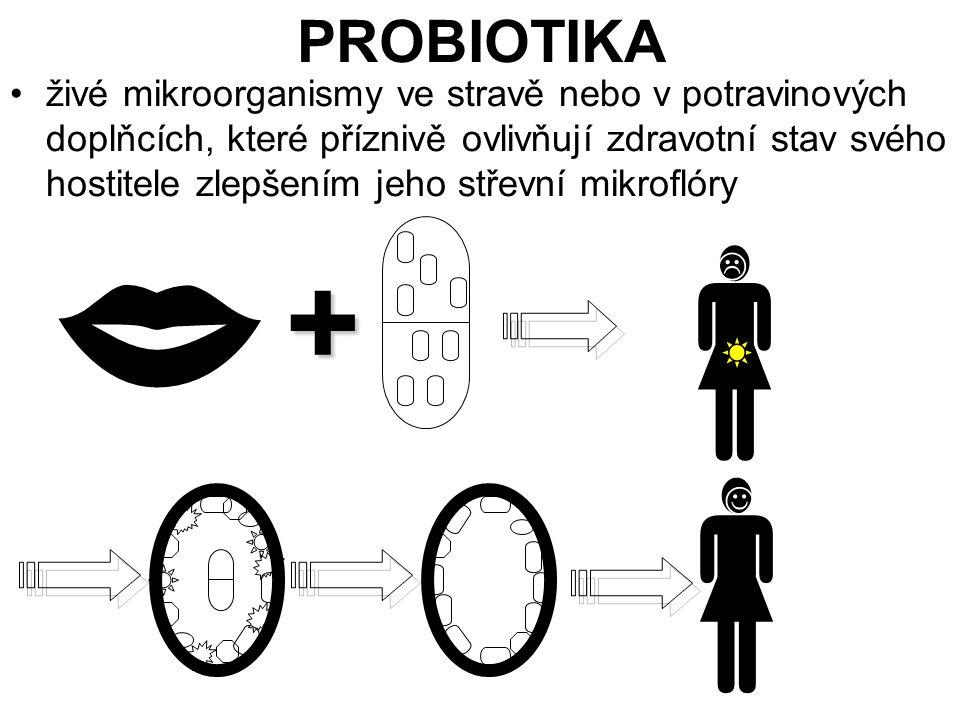 PROBIOTIKA živé mikroorganismy ve stravě nebo v potravinových doplňcích, které příznivě ovlivňují zdravotní stav svého hostitele zlepšením jeho střevn
