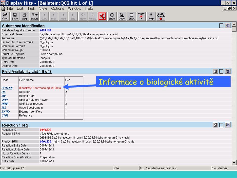 Informace o biologické aktivitě