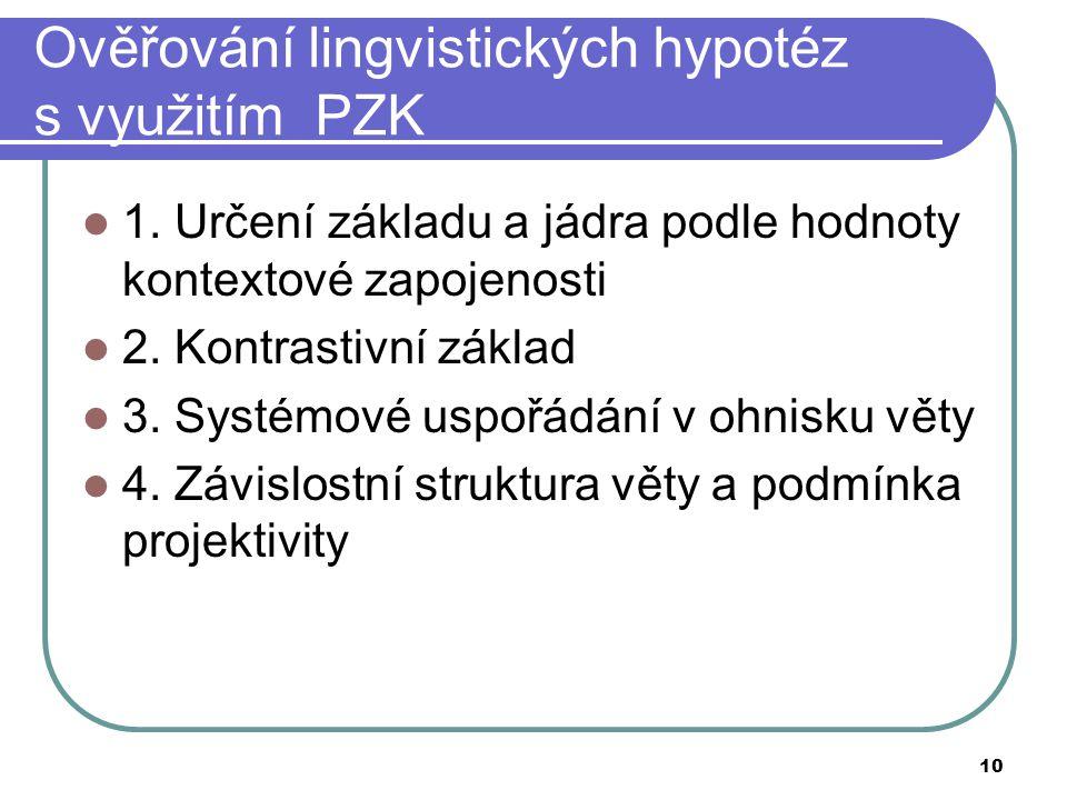 10 Ověřování lingvistických hypotéz s využitím PZK 1. Určení základu a jádra podle hodnoty kontextové zapojenosti 2. Kontrastivní základ 3. Systémové