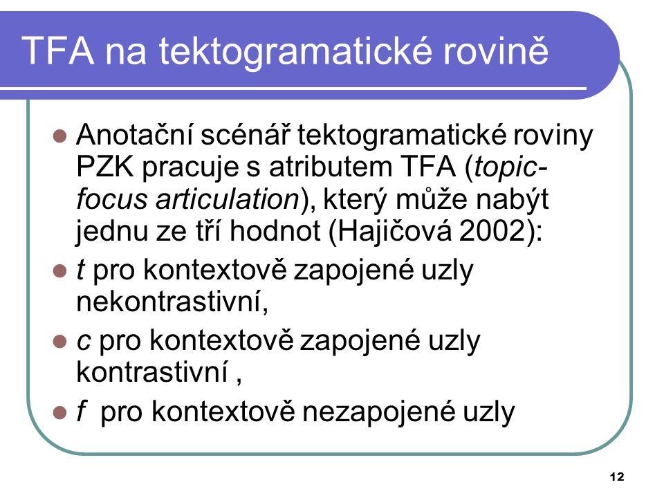 12 TFA na tektogramatické rovině Anotační scénář tektogramatické roviny PZK pracuje s atributem TFA (topic- focus articulation), který může nabýt jedn