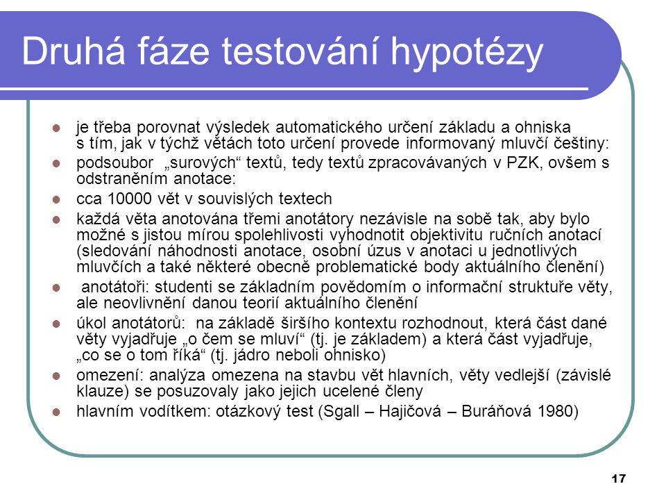 17 Druhá fáze testování hypotézy je třeba porovnat výsledek automatického určení základu a ohniska s tím, jak v týchž větách toto určení provede infor