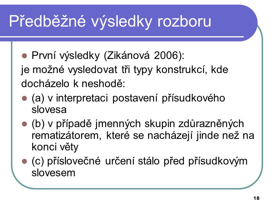 18 Předběžné výsledky rozboru První výsledky (Zikánová 2006): je možné vysledovat tři typy konstrukcí, kde docházelo k neshodě: (a) v interpretaci pos