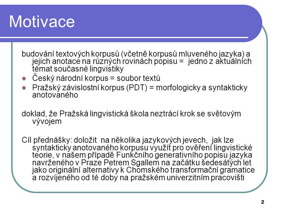 3 Funkční generativní popis jazyka (1) Funkční generativní popis jazyka: formulován zač.