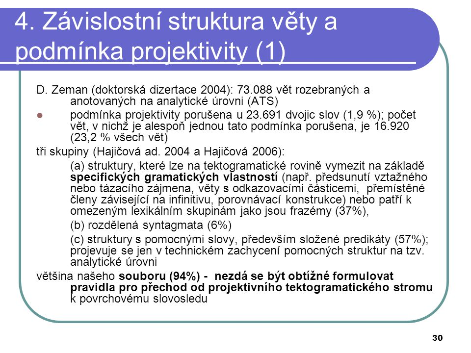 30 4. Závislostní struktura věty a podmínka projektivity (1) D. Zeman (doktorská dizertace 2004): 73.088 vět rozebraných a anotovaných na analytické ú