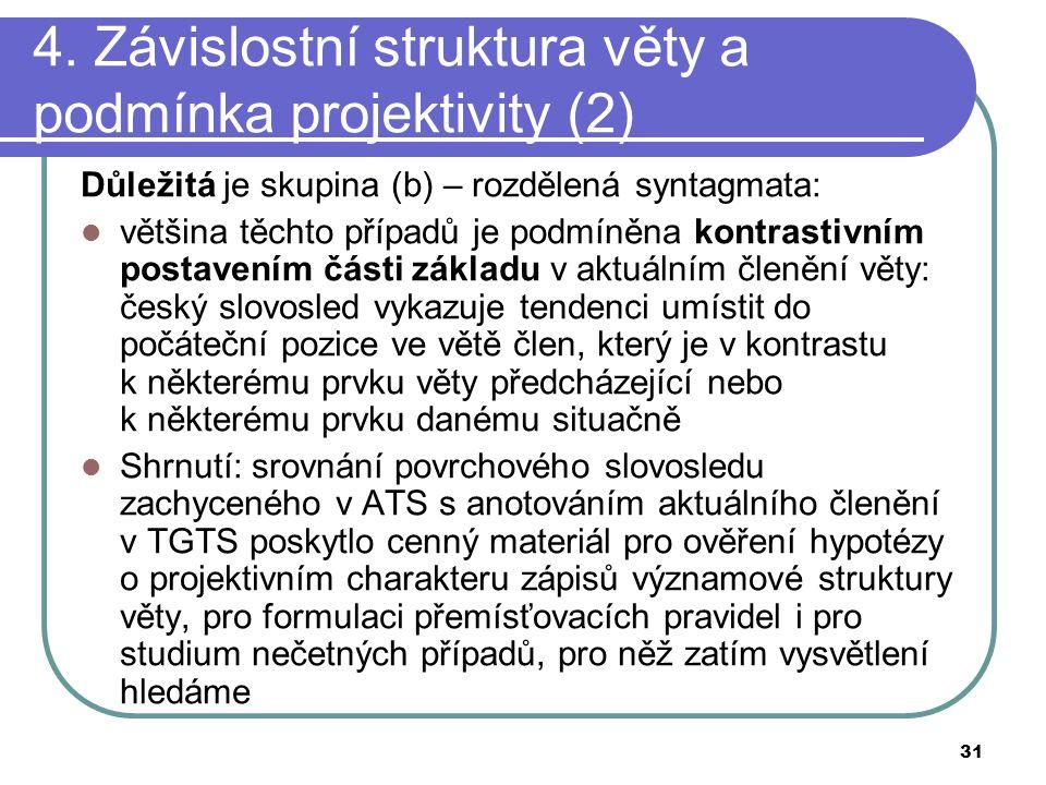 31 4. Závislostní struktura věty a podmínka projektivity (2) Důležitá je skupina (b) – rozdělená syntagmata: většina těchto případů je podmíněna kontr