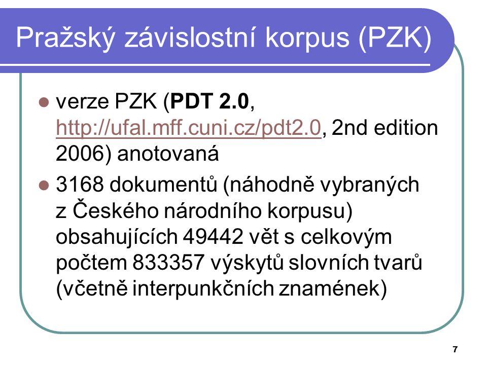 7 Pražský závislostní korpus (PZK) verze PZK (PDT 2.0, http://ufal.mff.cuni.cz/pdt2.0, 2nd edition 2006) anotovaná http://ufal.mff.cuni.cz/pdt2.0 3168