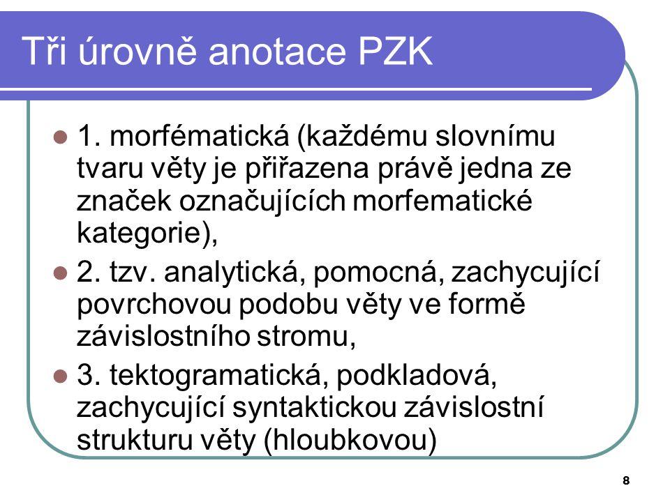 8 Tři úrovně anotace PZK 1. morfématická (každému slovnímu tvaru věty je přiřazena právě jedna ze značek označujících morfematické kategorie), 2. tzv.