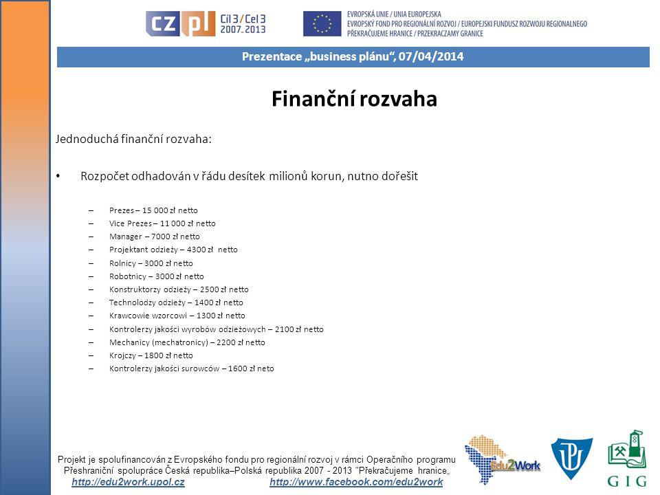 Finanční rozvaha Jednoduchá finanční rozvaha: Rozpočet odhadován v řádu desítek milionů korun, nutno dořešit – Prezes – 15 000 zł netto – Vice Prezes