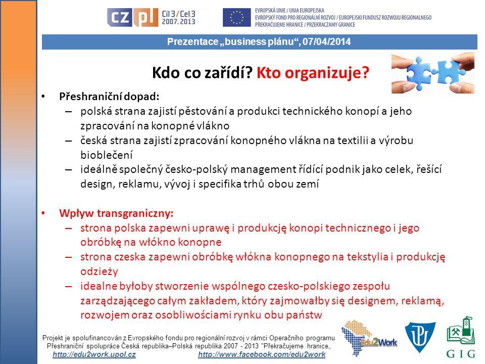 Kdo co zařídí? Kto organizuje? Přeshraniční dopad: – polská strana zajistí pěstování a produkci technického konopí a jeho zpracování na konopné vlákno