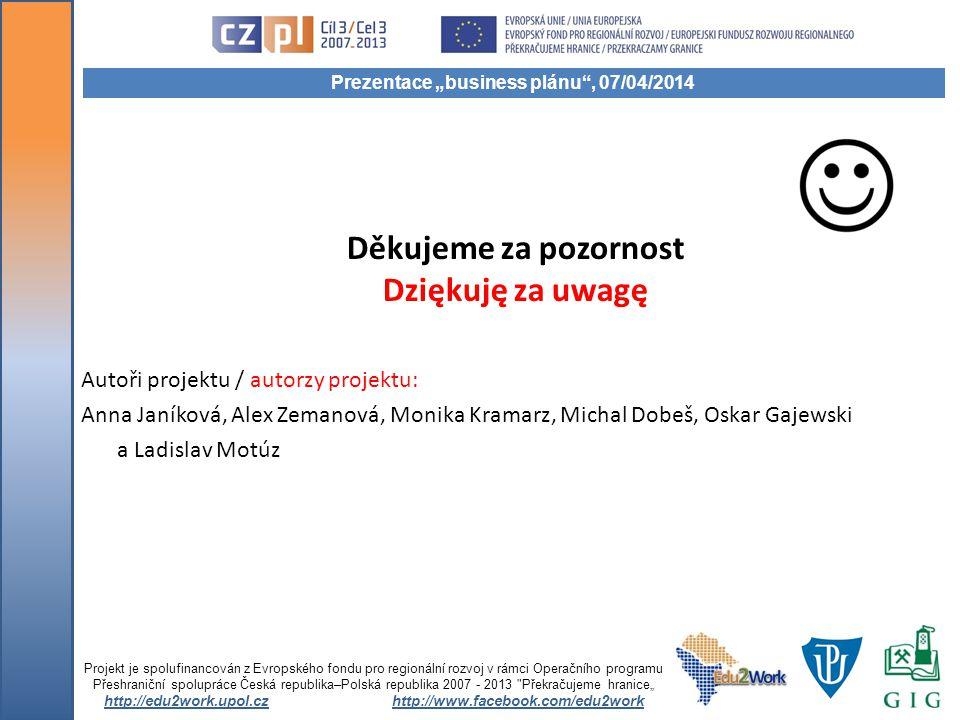Děkujeme za pozornost Dziękuję za uwagę Projekt je spolufinancován z Evropského fondu pro regionální rozvoj v rámci Operačního programu Přeshraniční s