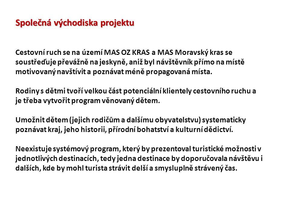 Společná východiska projektu Cestovní ruch se na území MAS OZ KRAS a MAS Moravský kras se soustřeďuje převážně na jeskyně, aniž byl návštěvník přímo na místě motivovaný navštívit a poznávat méně propagovaná místa.