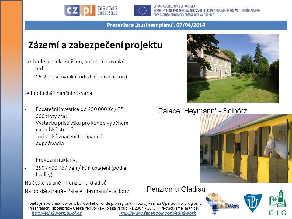 Zázemí a zabezpečení projektu Jak bude projekt zajištěn, počet pracovníků atd.